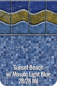 Sunset Beach with Mosaic Light Blue